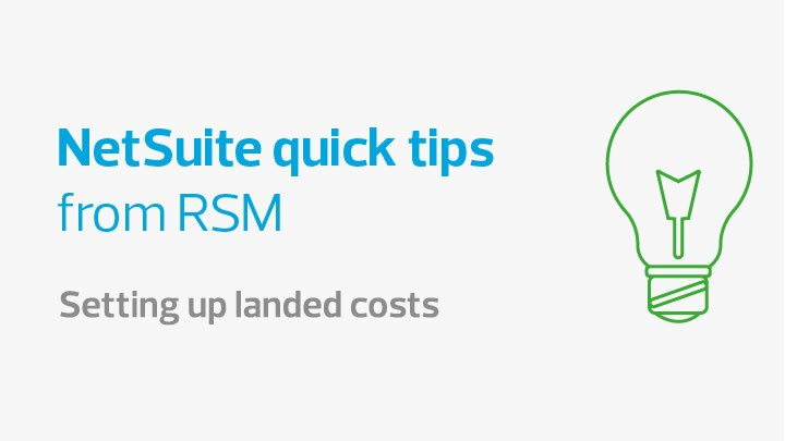 Setting up landed costs NetSuite