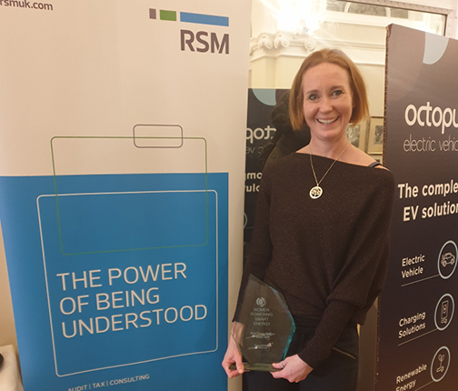 Sheena McGuinness celebrates win at Women Powering Smart Energy awards